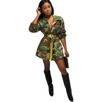 MN045 Camouflage army green long section denim jacket long trench cape woman coat
