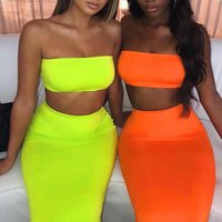FS1251B women 2 piece outfit neon clothing evening club clothes