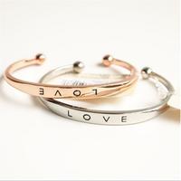 Hot selling european simple design alloy women bracelet rose gold plated bangle