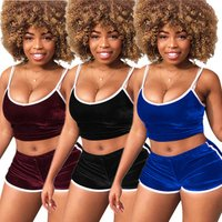 2019 Casual square collar spaghetti strap crop top solid color two-piece short set