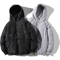Latest Custom Printed Hooded Winter Black Coat Mens Fashion Puffer Padded Jacket