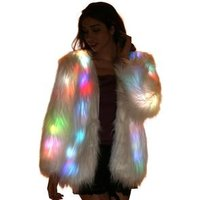Unisex Winter Glow In The Dark Carnival Festival Clothing White Faux Fur  Led Light Jacket For Men And Women