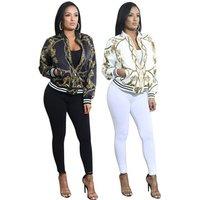 African Print Zip-Up Short Bomber Jacket Coat For Women