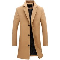 Mens New Fashion Design Long Coat Woolen Blended Slim Trench Coat