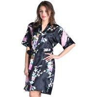 Women Summer Silk Kimono Bridal Robes Sleepwear Short Sleeve Nightgown Satin Pajamas
