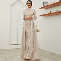 O neck long sleeve beads two pieces muslim formal dresses evening elegant ladies Gold Sequined long evening dress