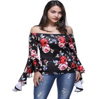 New Women Fashion Sexy Off Shoulder Long Sleeve Blouse Top