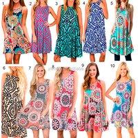 AM-033 Modern Casual women bohemai print short dress design models sleeveless dress wholesale summer clothing
