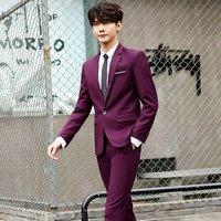 Mens Suits 3 Pieces Slim Fit Wedding Formal Dinner Black Navy Wine Red One Button Lapel Tuxedo Blazer Jacket