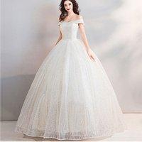 Wholesale off shoulder wedding dress princess  formal maxi dress