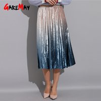 Women Dresses Elegant High Waist A-Line Pleated School Midi Skirt Metallic Multi-Color Female Gradient Skirt Pleated Long Skirt