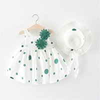 Fashion baby summer floral dresses with hat newborn baby clothes
