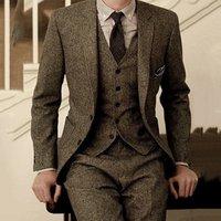 2019 Latest Coat Pant Designs Brown Tweed Formal Wedding Suits 3 Pieces Slim Fit Mens Tuxedo Suits
