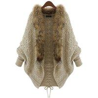 Ladies knitting Cardigan Bat Sleeve Fur Collar Sweater Coat women down coat