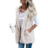 Plus Size Faux Fur Outwear Womens Casual Fleece Lightweight Fall Warm Vest With Pockets Hoodies Jacket Y10536
