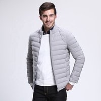 Mens gray lightweight thin  packable waterproof down jacket for winter