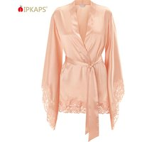 Womens Silk Satin Kimono Robe for bride and Bridesmaids with Lace Trim Femme Robe