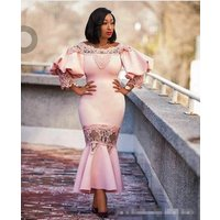 women gender off shoulder puff lace sleeve red wedding dress africa style lady evening Mermaid dresses