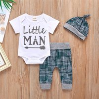 Lovely little man summer 0-1-2-3 years old cotton baby boy clothes set casual kids boy 3-piece set with hat