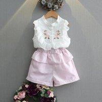 Toddler Girls Clothing Sets Summer 2017 white flower Kids Clothes Baby Girls Clothing Sets