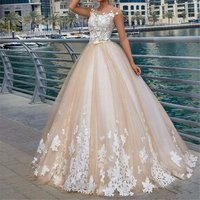 Fancy appliques champagne wedding bridal dress ball gown 2019