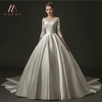 2019 New Ball Gown Satin Lace Modest V Neck Corset Back Bridal Gowns Vintage Wedding Dresses With 3/4 Sleeve