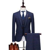 Oem High Quality Mens Suit Plaid Modern Fit 3-Piece Suit Center Vent Blazer Jacket Tux Vest and Trousers