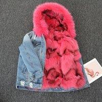Fashion Wholesale Real Jean Jacket Women  Fur Lining Coat Denim Jacket