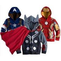Wholesale Zipper-up Kids Hoodies Avengers Iron Man Thor Children Hoodies Baby Boy Coat Spider Man Sweatshirts