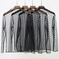 spring Summer Women Lace Long Sleeve Black  blouse sexy see-through mesh  transparent blouse
