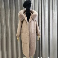 New Collection Clothes Handmade Winter Woolen Jackets Korean Style Women Zipper Up Belted  Real Fur Hooded Long Wool Coat