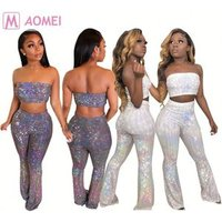 W1160 wholesale latest design summer wrap top lady night club wear sexy two piece sequin sets