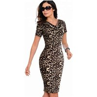 2018 Wholesaler Summer Casual Leopard Print Career Pencil Dress For Women