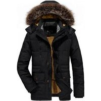 wholesale high quality cotton mid-long style thick loose thermal fleece men winter jacket with detachable hat
