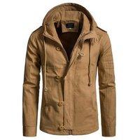 Amazon Hot Male Khaki Coat UK Size Mens Winter Hooded Cotton Jacket