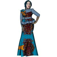 African Bazin Cowboy Denim Flower Tops and Mermaid Skirt Sets for Women Party Vestidos African 2 Piece Set Clothing WY2588