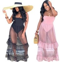 hot sale see through women long mesh maxi pleated dress