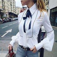 YSMARKET  Winter Autumn Office Bow Tie Blouses Women Lantern Sleeve White Blue Tunic Button Down Shirts Female Elegant Top E888