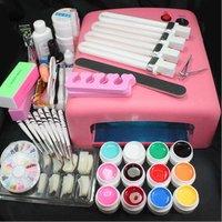 Freeshipping Pink UV Lamp Gel Polish Curing Dryer Light Acrylic UV Nail Art Kit Set