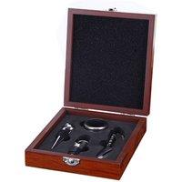 Custom wine opener souvenir blank wooden box gift set corkscrew bottle opener kit