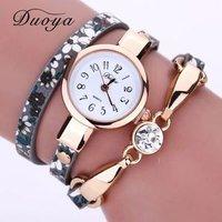Duoya Watch Women Brand Flower Luxury Gold Women Luxury Bracelet Watch Dress Vintage Female Electronic Wrist Watch Women