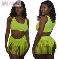 O9017 summer 2019 fashion tassel fluorescent green tassel sexy woman solid color swimwear two piece suit