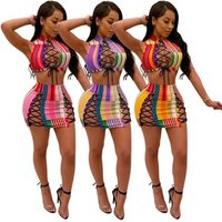 FM-Y098 Factory sales colorful sleeveless crop top mesh skirt two pieces set sexy dress