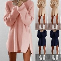wish Winter Sweaters Party Dresses Women Long Sleeve Jumper Tops Cotton Sweater Loose Zipper Tunic Mini Dress Ecowalson