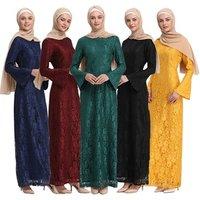 2019 New Arrival Fashion Modest Women Full Lace Maxi Islamic Dress