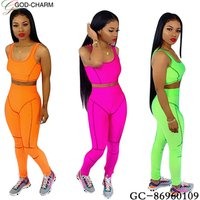 wholesale sexy fashion active style crop top and pants 2 piece set women