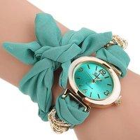 Sweet Bow Cloth Strap Oval Face Quartz Women Bracelet Wrist Watch Clock relogio feminino Hot Selling WW070