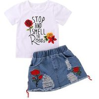 2-6 Years Kids Clothes for Girls Top White T-shirt and Denim Skirt Summer Suit Childrens Clothing Sets Baby Toddler Girls Set