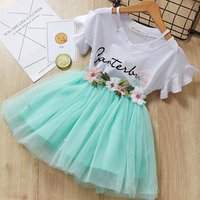 Korean style Girl Flower Fairy suit cotton two pieces suit Summer girl T shirt and cute skirt for 6 years old