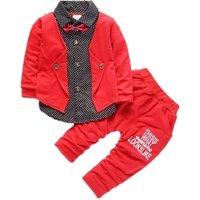 Autumn 2019 Bow Tie Boy Suit Child Gentleman Kid Clothing Newborn Red Dot Baby Clothes Set
